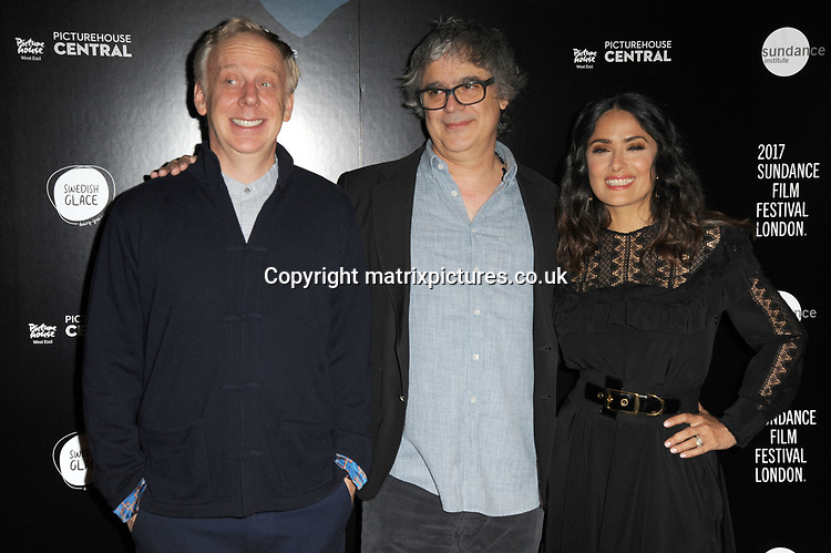 NON EXCLUSIVE PICTURE: MATRIXPICTURES.CO.UK<br /> PLEASE CREDIT ALL USES<br /> <br /> WORLD RIGHTS<br /> <br /> Mike White, Miguel Arteta and Salma Hayek attend the screening of 'Beatriz At Dinner' at the opening night of Sundance Film Festival in London.<br /> <br /> JUNE 1st 2017<br /> <br /> REF: TST 171130