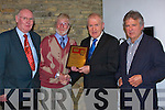 PRESENTATION: Mossie Gleeson who presented Jimmy Denihan with a plaque for Con Houlihan for his contribution to jounilism on Sunday night duging the Samhlai?och Kerry Film Festival, in Siamsa Tire, Tralee. L-r: Donal P Murphy, Mossie Gleeson, Jimmy DEnihan and Maurice Healy (Producer Director)............................ ..............................   Copyright Kerry's Eye 2008