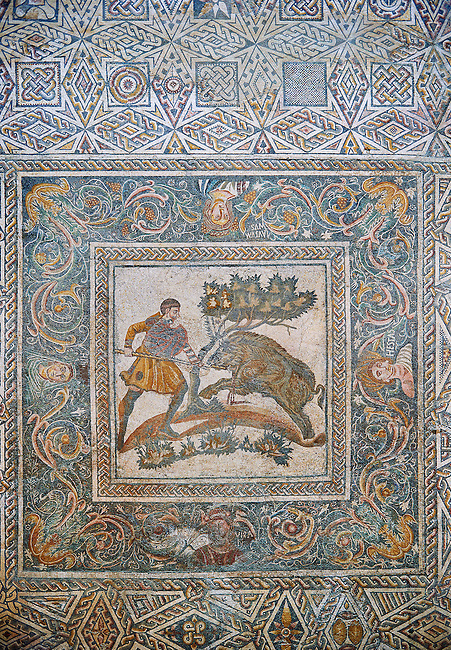 Roman Mosaic of a Wild Boar hunting scene. 4th Century AD from the Roman Villa of Las Tiendas, National Museum Of Roman Art, Merida, Spain