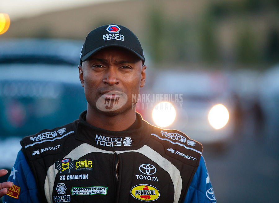 Jul 26, 2019; Sonoma, CA, USA; NHRA top fuel driver Antron Brown during qualifying for the Sonoma Nationals at Sonoma Raceway. Mandatory Credit: Mark J. Rebilas-USA TODAY Sports
