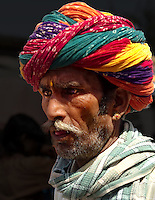 Turbans worn in Rajasthan signify the ancestral profession of the family by the way in which it is tied. Rajasthan, India
