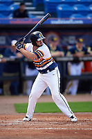 Canisius College Golden Griffins catcher Nick Capitano (35) at bat during the second game of a doubleheader against the Michigan Wolverines on February 20, 2016 at Tradition Field in St. Lucie, Florida.  Michigan defeated Canisius 3-0.  (Mike Janes/Four Seam Images)