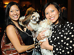 "Christine Ho with Maui and Leanna Tran with Cali at the ""Dog Days of Summer"" Yappy Hour benefitting Citizens for Animal Protection and Golden Beginnings Golden Retriever Rescue at Hotel Derek Wednesday July 21,2010.(Dave Rossman/For the Chronicle)"