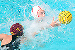 LOS ANGELES, CA - MAY 13: Jordan Raney #7 of Stanford University and Courtney Fahey #7 of the University of Southern California reach for a loose ball during the Division I Women's Water Polo Championship held at the Uytengsu Aquatics Center on the USC campus on May 13, 2018 in Los Angeles, California. USC defeated Stanford 5-4. (Photo by Tim Nwachukwu/NCAA Photos via Getty Images)
