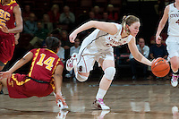 STANFORD, CA- FEBRUARY 9, 2012 - Lindy LaRocque battles on court during PAC-12 conference play against USC at Maples Pavilion on the Stanford campus. The Cardinal defeated the Trojans 69-52.