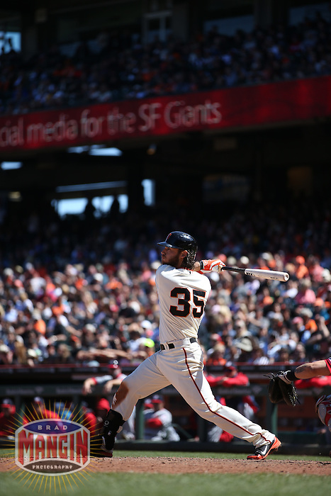 SAN FRANCISCO, CA - JUNE 12:  Brandon Crawford of the San Francisco Giants bats against the Washington Nationals during the game at AT&T Park on Thursday, June 12, 2014 in San Francisco, California. Photo by Brad Mangin