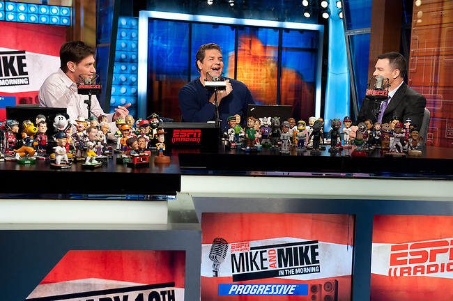 January  12, 2012 - Bristol, CT - Mike and Mike in the Morning:  (L to R) Mike Greenberg and Mike Golic with Indianapolis Colts Kicker, Adam Vinatieri. ..Credit: Joe Faraoni/ESPN