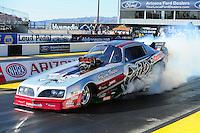 Feb. 17 2012; Chandler, AZ, USA; Tim Boychuk makes an exhibition run in his nostalgia funny car at the Arizona Nationals at Firebird International Raceway. Mandatory Credit: Mark J. Rebilas-