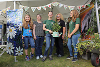 Pictured L-R: Elise Leadbeater, Susanne Davies, Candice Laroche, Liz Wistenley and Phoebe Williams Saturday 13 August 2016<br />Re: Grow Wild event at  Furnace to Flowers site in Ebbw Vale, Wales, UK