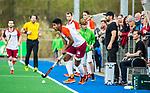 ALMERE - Hockey - Hoofdklasse competitie heren. ALMERE-HGC (0-1) .  Terrance Pieters (Almere)     , met rechts Pasha Gademan (Almere) en Bert Remmerswaal (Almere) COPYRIGHT KOEN SUYK