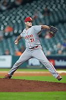 Louisiana Ragin' Cajuns relief pitcher Brett Williams (31) in action against the Kentucky Wildcats in game seven of the 2018 Shriners Hospitals for Children College Classic at Minute Maid Park on March 4, 2018 in Houston, Texas.  The Wildcats defeated the Ragin' Cajuns 10-4. (Brian Westerholt/Four Seam Images)
