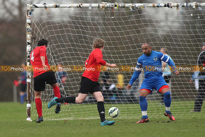 Wenlock score their first goal during Wenlock Arms (red) vs Gladstone Wanderers, Hackney & Leyton Sunday League Jack Morgan Cup Semi-Final Football at Hackney Marshes on 26th February 2017