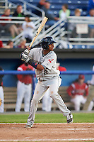 Mahoning Valley Scrappers second baseman Willi Castro (2) at bat during a game against the Batavia Muckdogs on June 23, 2015 at Dwyer Stadium in Batavia, New York.  Mahoning Valley defeated Batavia 11-2.  (Mike Janes/Four Seam Images)