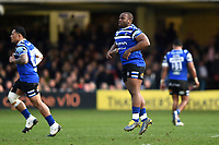 Beno Obano of Bath Rugby runs onto the field after a lenghthy injury lay-off. Gallagher Premiership match, between Bath Rugby and Harlequins on March 2, 2019 at the Recreation Ground in Bath, England. Photo by: Patrick Khachfe / Onside Images