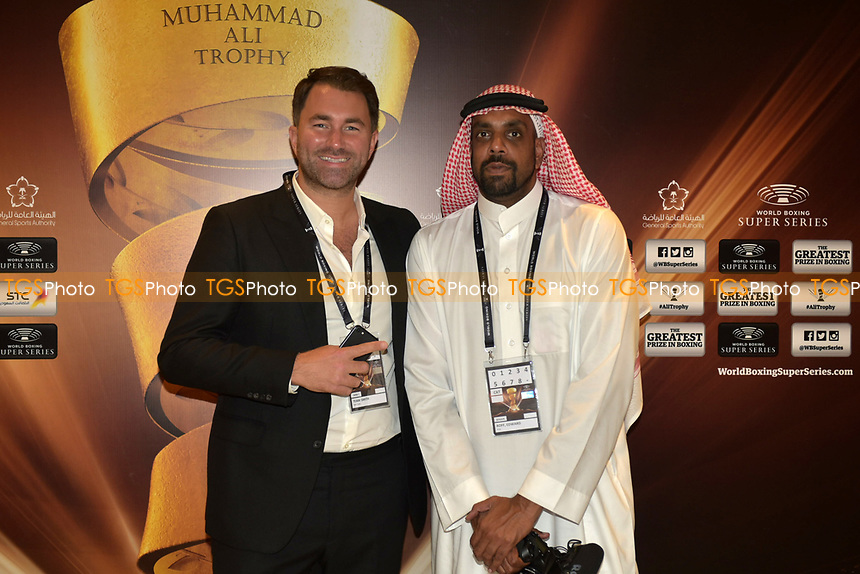 Eddie Hearn and Kugan Cassius ahead of a Boxing Show at King Abdullah Sports City on 28th September 2018