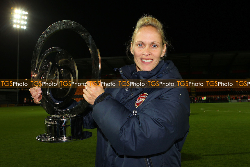 Arsenal Ladies manager Shelley Kerr with the Cup - Arsenal Ladies vs Lincoln Ladies - FA Womens Super League Continental Cup Final Football at The Hive Stadium, Barnet FC - 04/10/13 - MANDATORY CREDIT: Gavin Ellis/TGSPHOTO - Self billing applies where appropriate - 0845 094 6026 - contact@tgsphoto.co.uk - NO UNPAID USE