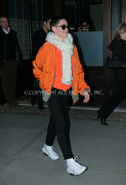 www.acepixs.com<br /> <br /> January 31 2018, New York City<br /> <br /> Actress Rose McGowan leaves a downtown hotel on January 31 2018 in New York City<br /> <br /> By Line: Curtis Means/ACE Pictures<br /> <br /> <br /> ACE Pictures Inc<br /> Tel: 6467670430<br /> Email: info@acepixs.com<br /> www.acepixs.com