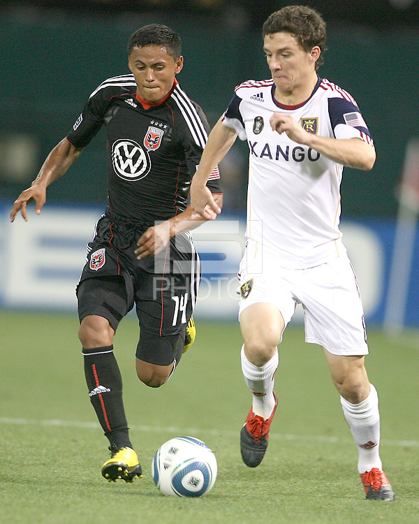 Andy Najar #14 of D.C. United moves up on Will Johnson #8 of Real Salt Lake during an MLS match at RFK Stadium, on June 5 2010 in Washington DC. The game ended in a 0-0 tie.