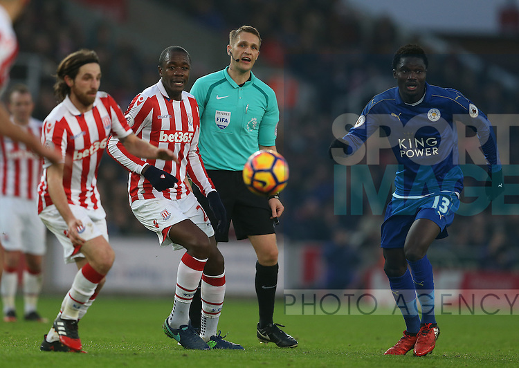 Referee Craig Pawson watches the game during the English Premier League match at the Bet 365 Stadium, Stoke on Trent. Picture date: December 17th, 2016. Pic Simon Bellis/Sportimage