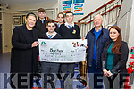 Cheque Prresentation: Pupils Colaiste na Riochta, Listowel who raised €1070.00 in a collection at Listowel Mart presenting the cheque to Kate Finnucane of Bothair on Monday last. L-R: Kate Finnucane, Bothair, Darragh Mulvihill, Dylan Lynch, Barney O'Connell, Manager Listowel Mart & Suzanne Lynch, teacher. Back : Aaron Broderick & Katelyn Cusack.