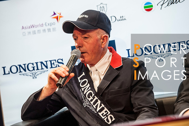 John Whitaker of United Kingdom rides Argento at the press conference after the Longines Grand Prix during the Longines Hong Kong Masters 2015 at the AsiaWorld Expo on 15 February 2015 in Hong Kong, China. Photo by Xaume Olleros  / Power Sport Images