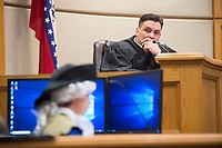 NWA Democrat-Gazette/BEN GOFF @NWABENGOFF<br /> George Washington, played by Michael Hester, takes the witness stand, with district judge Chris Griffin presiding, Wednesday, March 7, 2018, as 5th grade students from Frank Tillery Elementary in Rogers hold a mock trial at Rogers District Court. The students put on costumes and portrayed historical figures from the American Revolution, putting Benedict Arnold on trial for treason and Capt. Thomas Preston on trial for murder in the Boston Massacre.