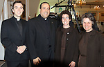 SOUTHINGTON CT. 06 June 2017-060617SV21-From left, Fr. Philip O&rsquo;Neil and Fr. Jeffrey Romans both of St. Bridget/St. Thomas Becket in Cheshire, with Sister Francesca Silver and Sister Barbara Johnson both of Meriden attend The 32nd Annual Franciscan Sports Banquet &amp; Silent Auction at the Aqua Turf in Southington Tuesday.<br /> Steven Valenti Republican-American