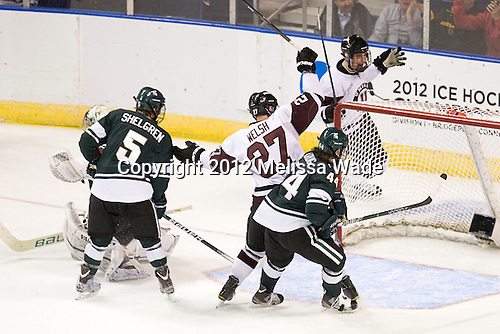 Will Yanakeff (MSU - 37), Brock Shelgren (MSU - 5), Jeremy Welsh (Union - 27), Torey Krug (MSU - 44), Max Novak (Union - 18) - The Union College Dutchmen defeated the Michigan State University Spartans 3-1 in their NCAA East Regional semifinal on Friday, March 23, 2012, at the Webster Bank Arena in Bridgeport, Connecticut.