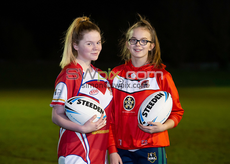 Picture by Allan McKenzie/SWpix.com - 26/02/2019 - Rugby League - CreatedBy RLWC2021 - Castleford Tigers Women - DeLacy Academy, Knottingley, England - Castleford Tigers Women with Steeden balls, branding.