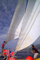 Antalya, Turkey, October 2005. Sailing the Turkish coast in a wooden Gulet takes one along the most beautiful stretches of the Mediterranean. Small fishing villages, ancient Lycian and Byzantine ruins are scattered in the mountainous landscape lined by tranquil beaches and small islands. Photo by Frits Meyst / MeystPhoto.com