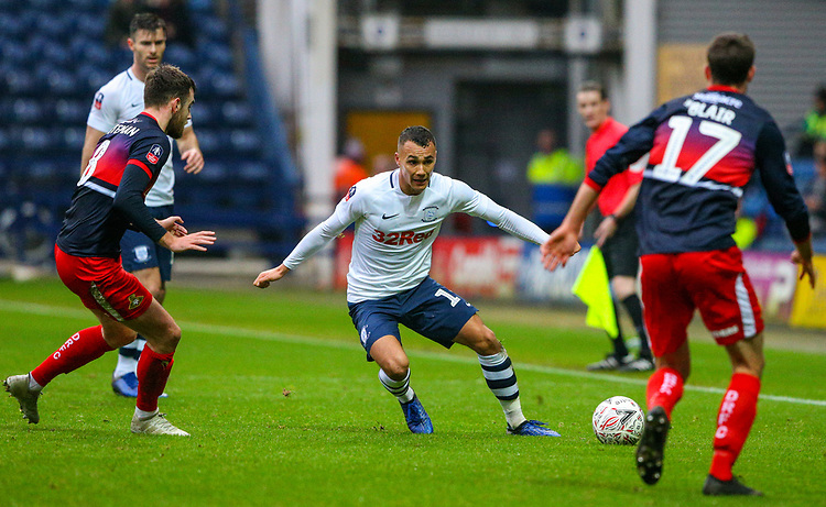Preston North End's Graham Burke takes on Doncaster Rovers' Ben Whiteman and Matty Blair<br /> <br /> Photographer Alex Dodd/CameraSport<br /> <br /> The Emirates FA Cup Third Round - Preston North End v Doncaster Rovers - Sunday 6th January 2019 - Deepdale Stadium - Preston<br />  <br /> World Copyright © 2019 CameraSport. All rights reserved. 43 Linden Ave. Countesthorpe. Leicester. England. LE8 5PG - Tel: +44 (0) 116 277 4147 - admin@camerasport.com - www.camerasport.com