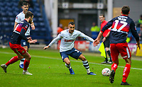 Preston North End's Graham Burke takes on Doncaster Rovers' Ben Whiteman and Matty Blair<br /> <br /> Photographer Alex Dodd/CameraSport<br /> <br /> The Emirates FA Cup Third Round - Preston North End v Doncaster Rovers - Sunday 6th January 2019 - Deepdale Stadium - Preston<br />  <br /> World Copyright &copy; 2019 CameraSport. All rights reserved. 43 Linden Ave. Countesthorpe. Leicester. England. LE8 5PG - Tel: +44 (0) 116 277 4147 - admin@camerasport.com - www.camerasport.com