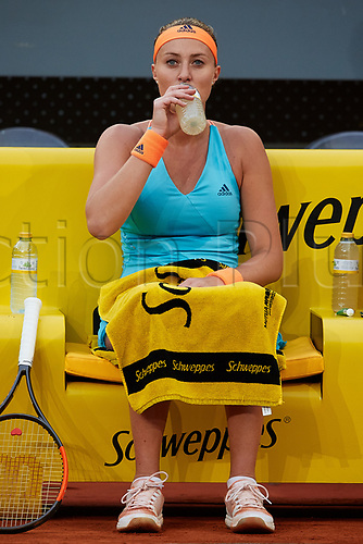 May 12th 2017, Caja Magica, Madrid, Spain; Mutua Madrid Open tennis tournament; Kristina Mladenovic of France drinks as she wins against Svetlana Kuznetsova of Russia in 2 sets