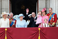 Camilla, Duchess of Cornwall; Prince Charles, Prince of Wales; HM Queen Elizabeth II &amp; Prince Philip, Duke of Edinburgh; Catherine, Duchess of Cambridge; Princess Charlotte; Prince George &amp; Prince William, Duke of Cambridge on the balcony of Buckingham Palace following the Trooping of the Colour Ceremony celebrating the Queen's official birthday. London, UK. <br /> 17 June  2017<br /> Picture: Steve Vas/Featureflash/SilverHub 0208 004 5359 sales@silverhubmedia.com