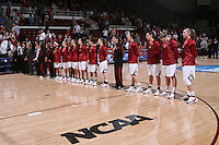 22 March 2008: Melanie Murphy, Rosalyn Gold-Onwude, JJ Hones, Candice Wiggins, Hannah Donaghe, Jillian Harmon, Cissy Pierce, Jeanette Pohlen, Michelle Harrison, Morgan Clyburn, Ashley Cimino, Jayne Appel and Kayla Pedersen during Stanford's 85-47 win over Cleveland State during the first round of the NCAA Women's Basketball first round game at Maples Pavilion in Stanford, CA.