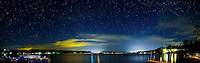 This seven photo panoramic image showing the stars, was taken on the east side of Keuka Lake in Penn Yan, New York.