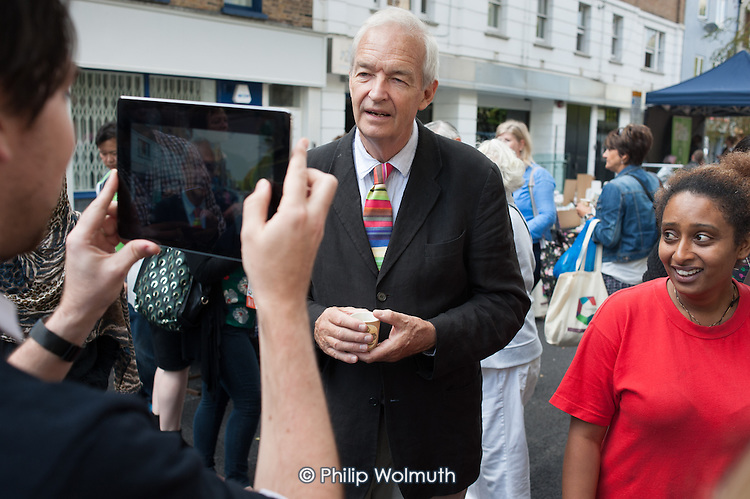 Jon Snow, Camden Council launch of revamped Chalton Street market.