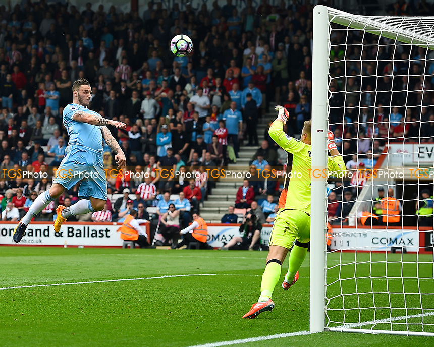 Marko Arnautovic of Stoke City misses a clear first half chance during AFC Bournemouth vs Stoke City, Premier League Football at the Vitality Stadium on 6th May 2017