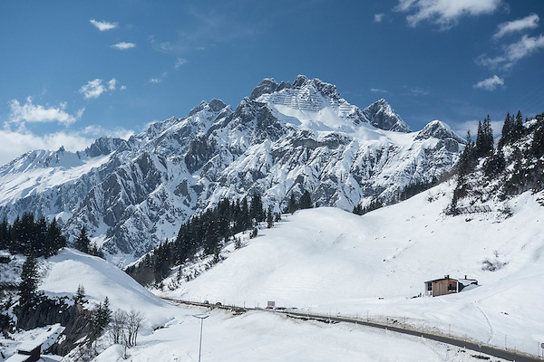 Flexenspitze while skiing to Stuben Ski Area, Austria,