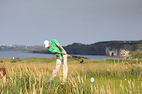 Stuart Grehan (IRL) on the 15th tee during the Afternoon Singles between Ireland and Wales at the Home Internationals at Royal Portrush Golf Club on Thursday 13th August 2015.<br /> Picture:  Thos Caffrey / www.golffile.ie