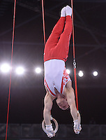 Canada's Scott Morgan performs his routine which won him the gymnastic artistic men's rings final<br /> <br /> Photographer Chris Vaughan/CameraSport<br /> <br /> 20th Commonwealth Games - Day 8 - Thursday 31st July 2014 - Gymnastics - The SSE Hydro - Glasgow - UK<br /> <br /> © CameraSport - 43 Linden Ave. Countesthorpe. Leicester. England. LE8 5PG - Tel: +44 (0) 116 277 4147 - admin@camerasport.com - www.camerasport.com