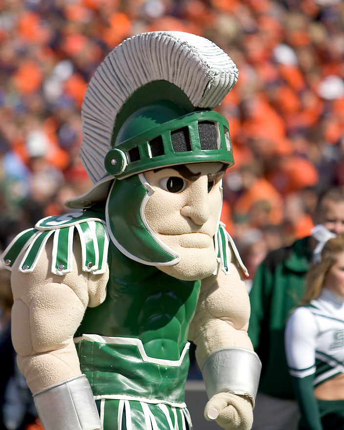 October 9, 2009 - Champaign, Illinois, USA - Michigan State mascot in action in the game between the University of Illinois and Michigan State at Memorial Stadium in Champaign, Illinois.  Michigan State defeated Illinois 24 to 14.  .