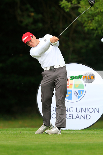 Colin Fairweather (Knock) on the 1st tee during the Final of the AIG Senior Cup at the AIG Cups &amp; Shields National Finals in Carton House on the 19/09/15.<br /> Picture: Thos Caffrey | Golffile