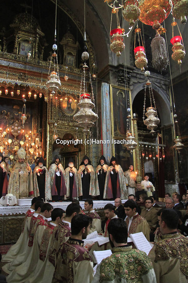 Israel, Jerusalem, Easter, Armenian Orthodox Maundy Thursday ceremony at St. James Cathedral