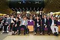 (L to R) Wakako Tsuchida, Hiromi Miyake, Yoshiyuki Miyake, Ai Shibata, Junichi Miyashita, Takuji Hayata, SEPTEMBER 8, 2013 : Supporters of Tokyo bid team celebrate after first vote for the Summer Olympic Games in 2020 during the Public Viewing for 2020 Summer Olympic and Games at The Tokyo Chamber of Commerce and Industry hall (Tosho Hall), Tokyo Japan on Sunday September 8, 2013. (Photo by Yusuke Nakanishi/AFLO SPORT) [1090]