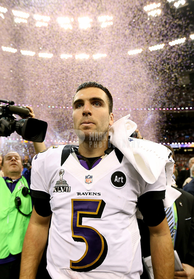 Feb 3, 2013; New Orleans, LA, USA; Baltimore Ravens quarterback Joe Flacco (5) after defeating the San Francisco 49ers in Super Bowl XLVII at the Mercedes-Benz Superdome. Mandatory Credit: Mark J. Rebilas-