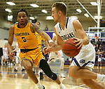 SIOUX FALLS, SD - DECEMBER 7: Aaron Rothermund #33 from the University of Sioux Falls gets a step past Lee Higgins #5 from Concordia St. Paul during their game Friday night at the Stewart Center in Sioux Falls, SD. (Photo by Dave Eggen/Inertia)