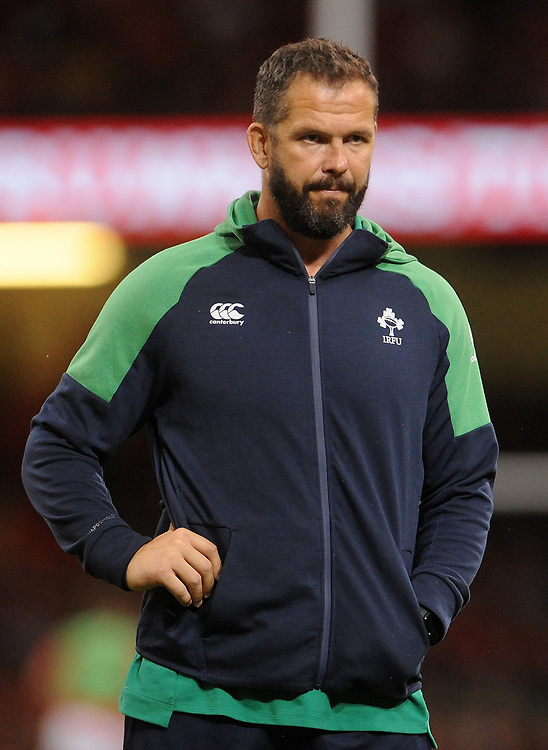 Ireland's Defence coach Andy Farrell during the pre match warm up<br /> <br /> Photographer Ian Cook/CameraSport<br /> <br /> 2019 Under Armour Summer Series - Wales v Ireland - Saturday 31st August 2019 - Principality Stadium - Cardifff<br /> <br /> World Copyright © 2019 CameraSport. All rights reserved. 43 Linden Ave. Countesthorpe. Leicester. England. LE8 5PG - Tel: +44 (0) 116 277 4147 - admin@camerasport.com - www.camerasport.com