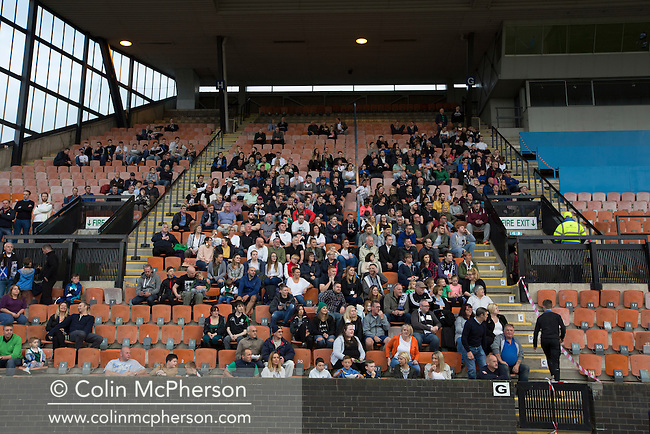 The home section of the crowd watching the action from the grandstand as Edinburgh City take on Scottish Cup winners Hibernian a pre-season friendly at Meadowbank Stadium. The match was City's first at the Commonwealth Stadium since they gained promotion from the Lowland League to the Scottish League in May 2016. A record crowd for a City match of 2500 spectators saw the visitors run out 6-1 winners.