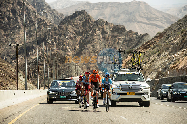The breakaway group Nathan Van Hooydonck (BEL) CCC Team, Ian Boswell (USA) Katusha Alpecin, Damian Gaudin (FRA) Direct Energie, Darwin Atapuma (COL) Cofidis, and Jeremy Leveau (FRA) Delko Marseille Provence in action during Stage 4 of 10th Tour of Oman 2019, running 131km from Yiti (Al Sifah) to Oman Convention and Exhibition Centre, Oman. 19th February 2019.<br /> Picture: ASO/Kåre Dehlie Thorstad | Cyclefile<br /> All photos usage must carry mandatory copyright credit (© Cyclefile | ASO/Kåre Dehlie Thorstad)